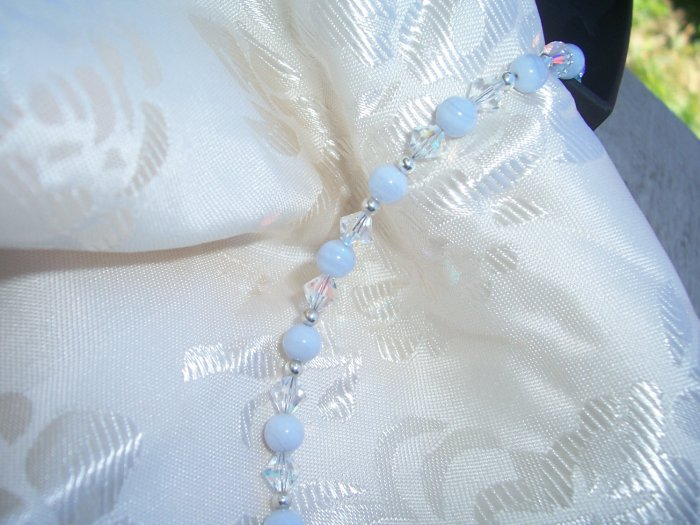 Swarovski AB Crystal with Blue Lace Agate Sterling Silver bracelet by A Touch of Earth