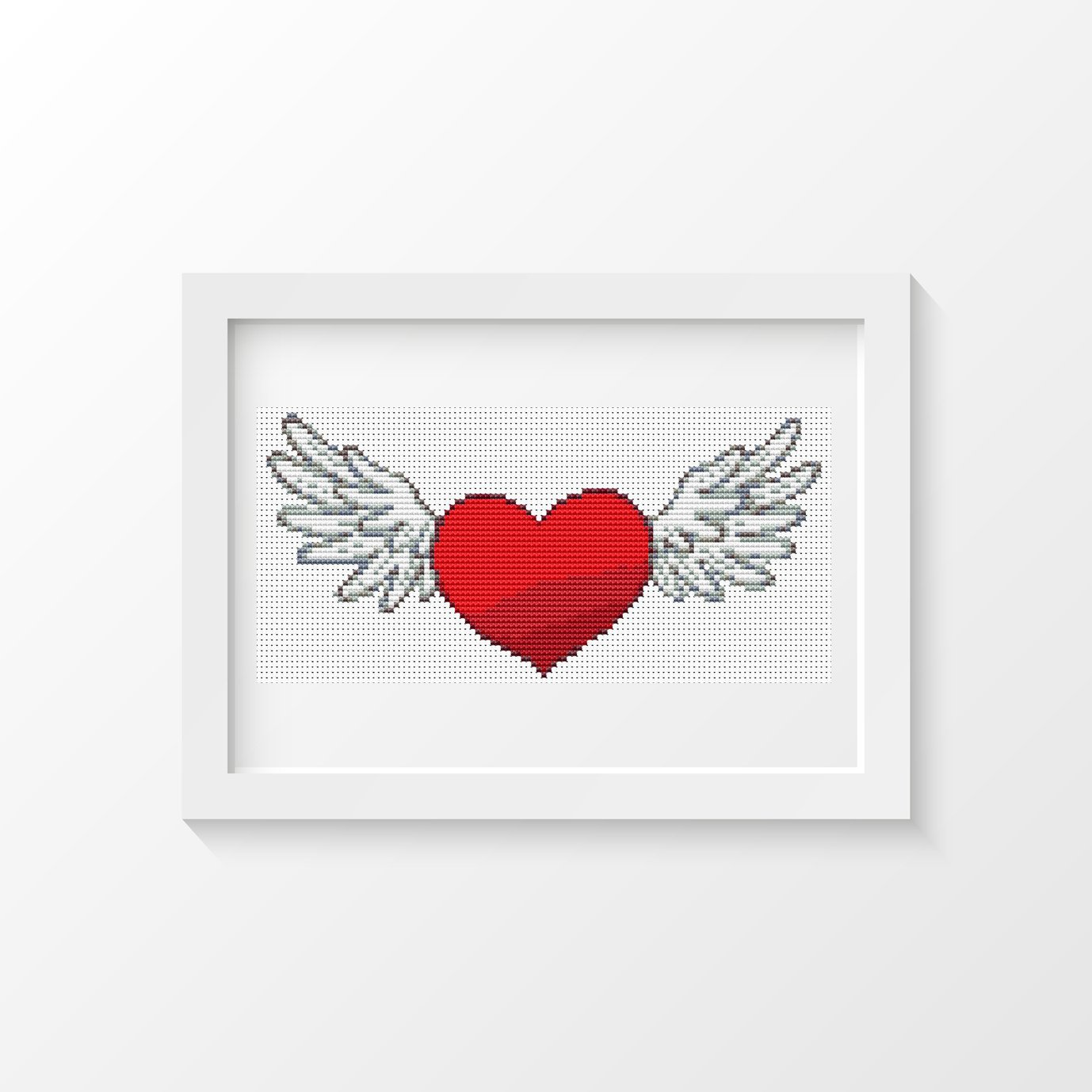Valentine Series - Winged Heart Mini Cross Stitch Pattern PDF