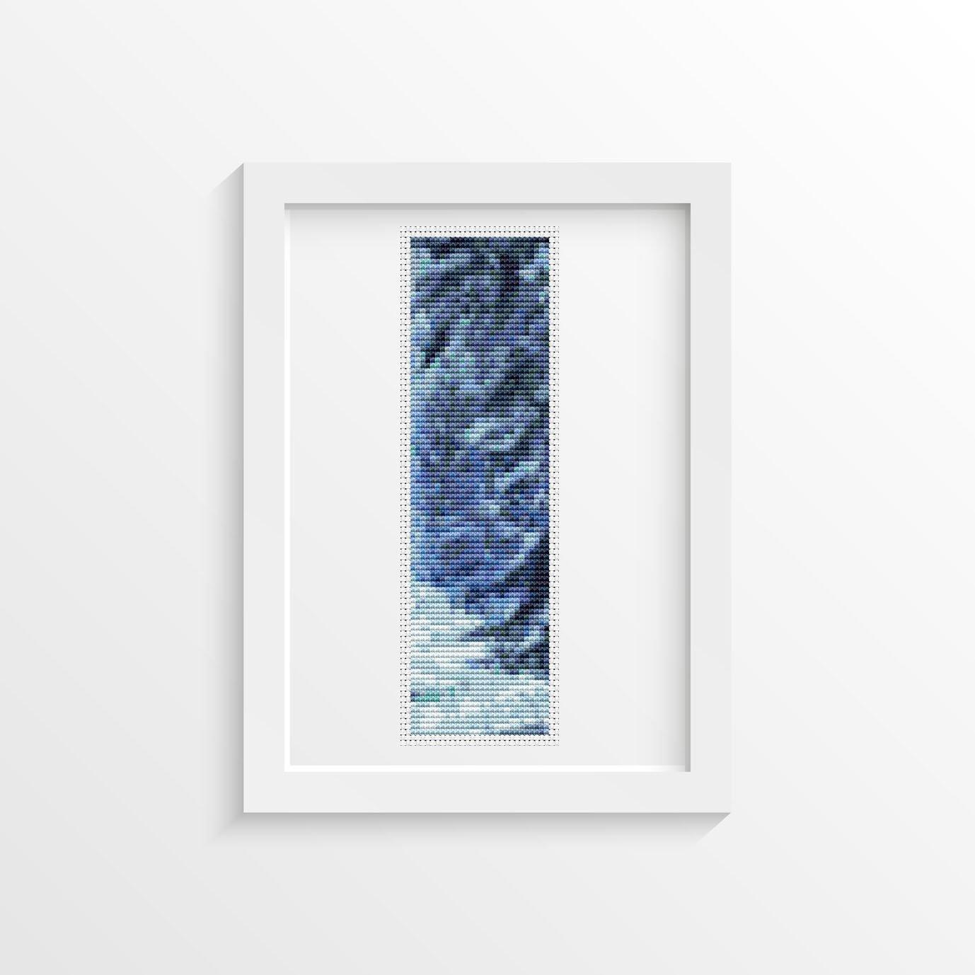 Blue Winter Bookmark Cross Stitch Pattern PDF