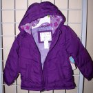 2T Toddler Girls Winter Coat Jacket w/ Hood Purple Water Resistant