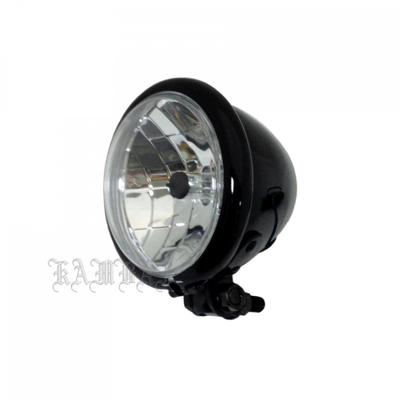 "Motorcycle Headlight 4 1/2"" Head Lamp 4.5"" Headlight Metal Black Bobber Chopper"