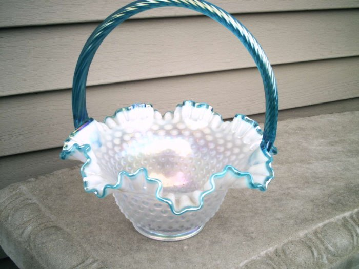 Fenton irridized Basket from Easter offering, hobnail