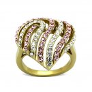 Gorgeous Crystal Heart Ring ~ Ion Plated Gold Stainless Steel