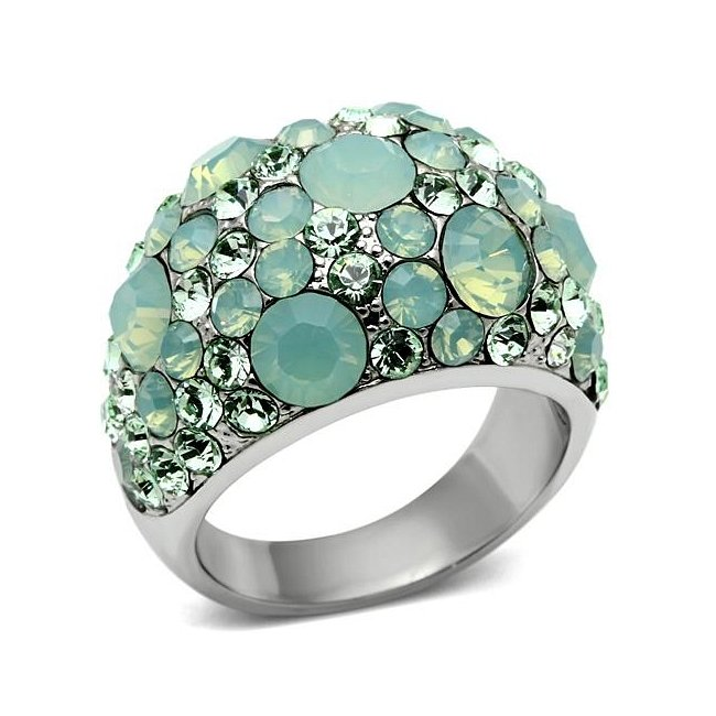 Lovely Green Crystal Dome Ring ~ Stainless Steel