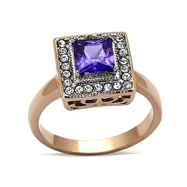 Two Tone ( Rose Gold & Silver) CZ Fushia Ring ~ Stainless Steel