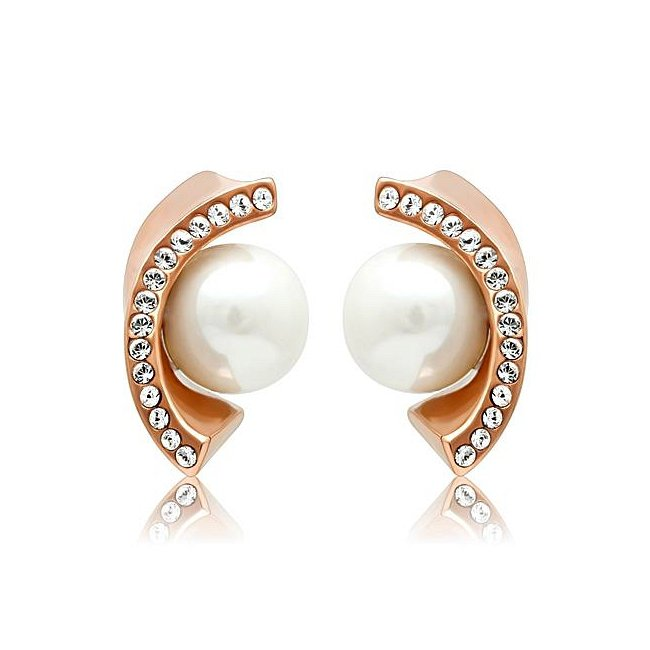 Gorgeous Simulated Pearl Rose Gold Earrings ~ Ion Plated Stainless Steel