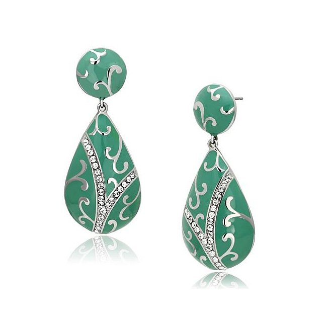 Pretty Green High Polish Crystal Drop Earrings ~ Stainless Steel