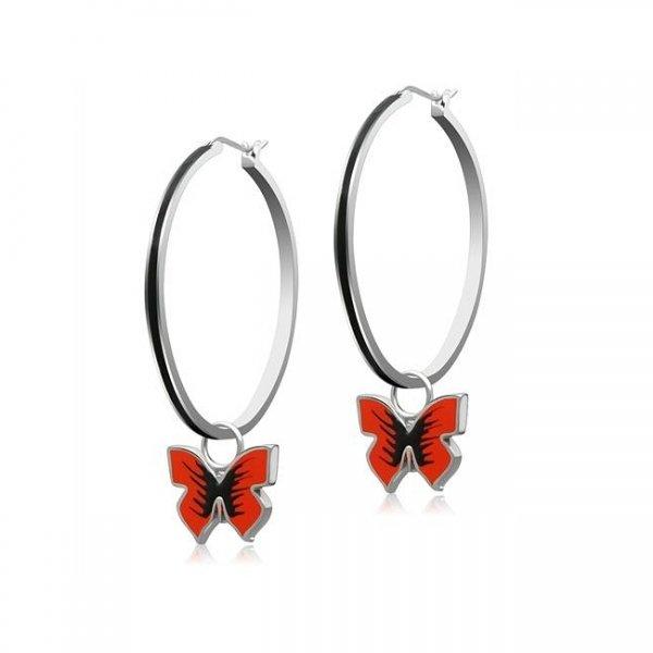 Stainless Steel Silver Red Butterfly Hoop Earrings