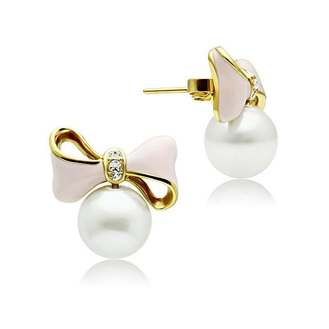 Pink Bow Synthetic Pearl Earrings ~ Ion Gold Plated Brass