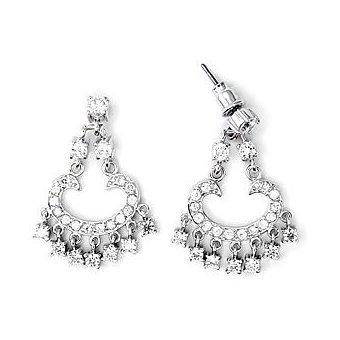 Cubic Zirconia Chandelier Earrings ~ Sterling Silver