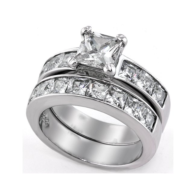 Lovely CZ Engagement / Wedding Ring Set ~ Stainless Steel