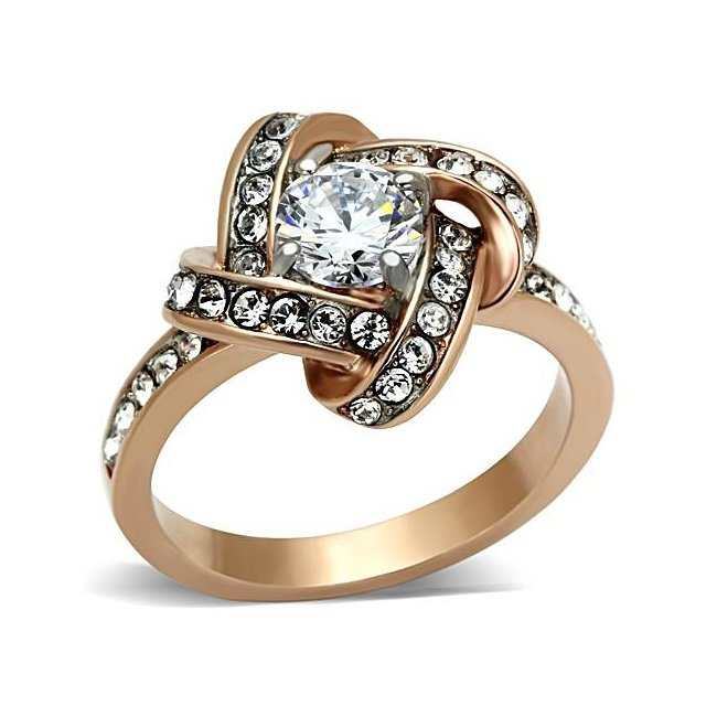 Stunning Unique Ion Rose Gold Plated Cubic Zirconia Ring ~ Stainless Steel