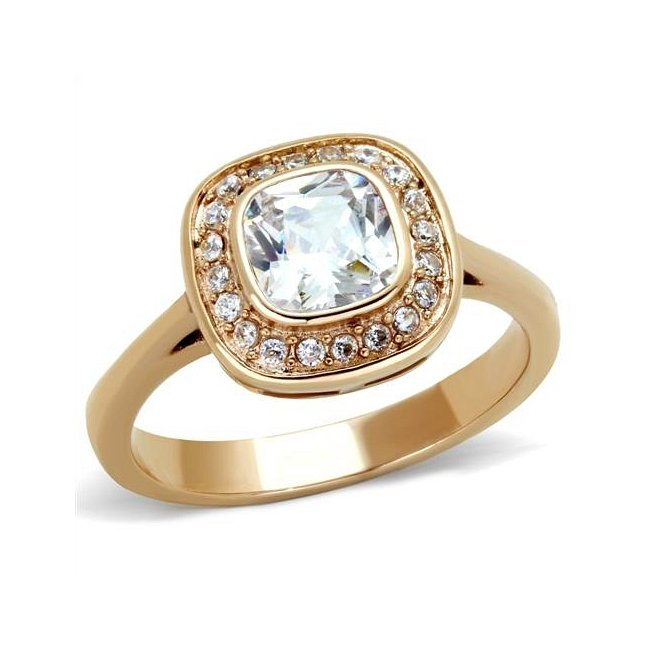 Dazzling Cubic Zirconia Ion Rose Gold Plated Ring ~ Stainless Steel