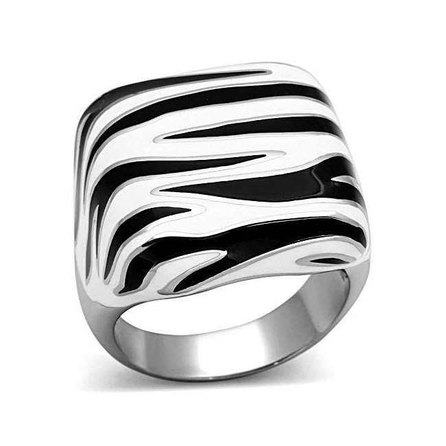 Black & White Fashion Ring ~ Stainless Steel