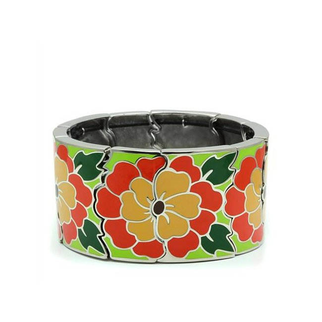 Beautiful Multi-Color Flower Fashion Bracelet ~ Stainless Steel