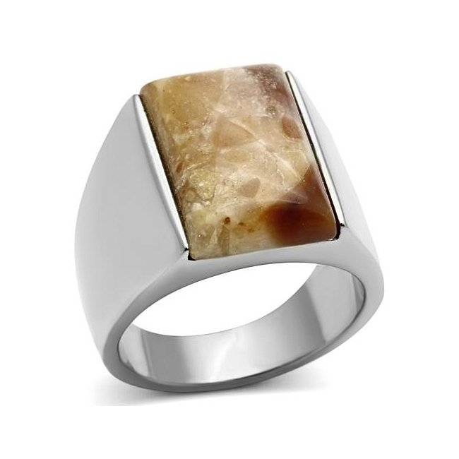 Synthetic Brown Agate Ring ~ Stainless Steel