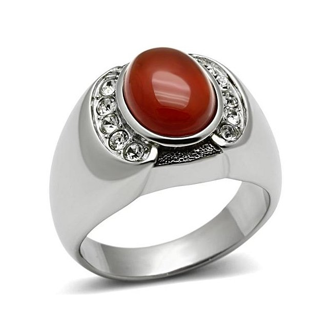 Siam Red Synthetic Onyx Ring ~ Stainless Steel