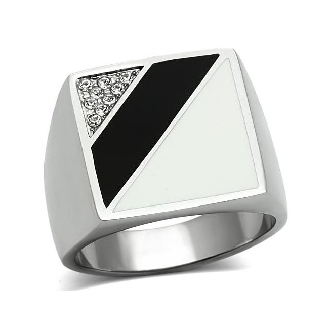 Black White Crystal Square Ring ~ Stainless Steel