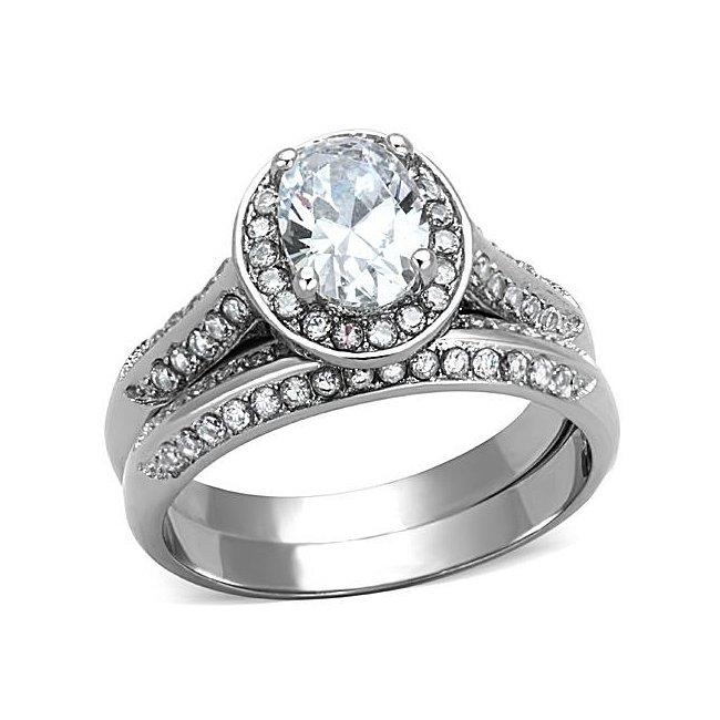 Elegant Pave CZ Enagement / Wedding Ring Set ~ Stainless Steel