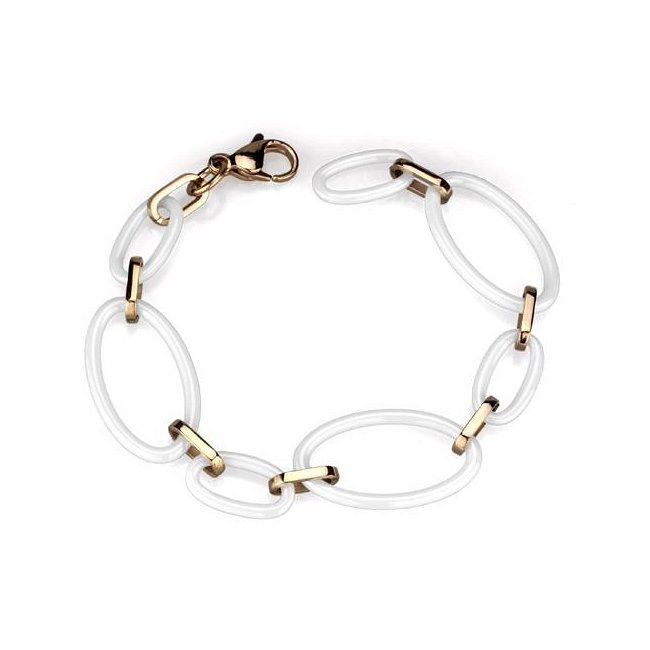 White Ceramic / Ion Rose Gold Plated Link Bracelet ~ Stainless Steel