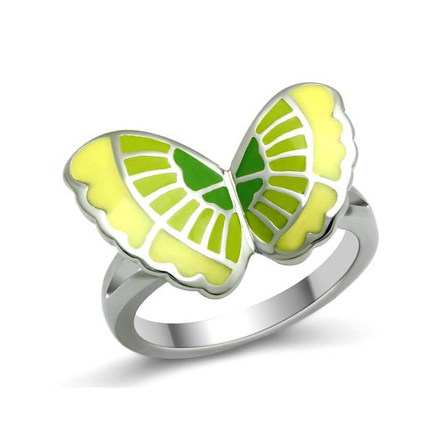 Green / Yellow Stainless Butterfly Ring ~ Stainless Steel