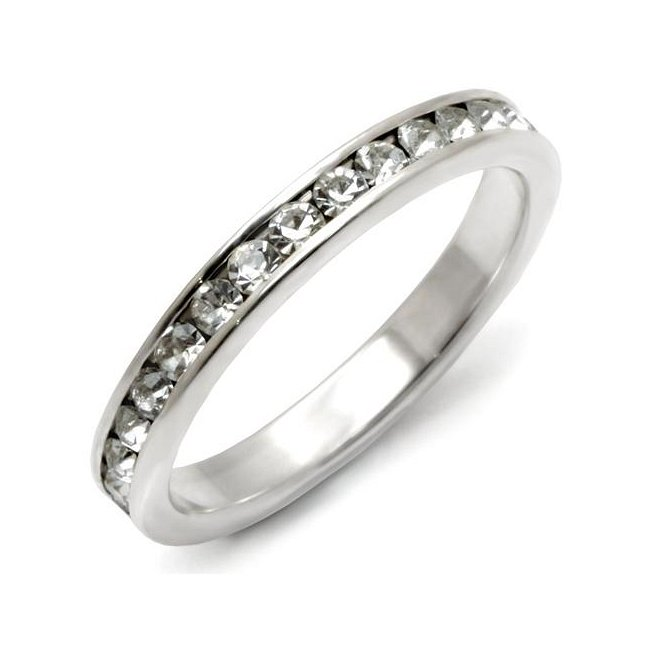 Stackable Crystal Band Ring ~ Sterling Silver