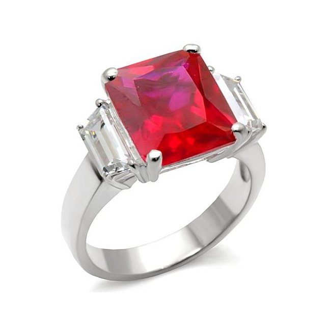 Lovely Square Ruby Cubic Zirconia Ring ~ Sterling Silver