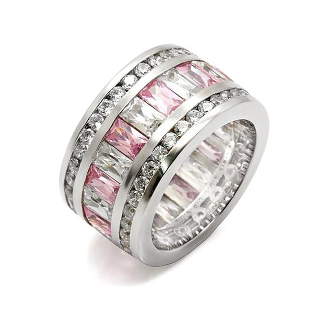 Beautiful Pink & Clear Cubic Zirconia Band Ring ~ Stainless Steel