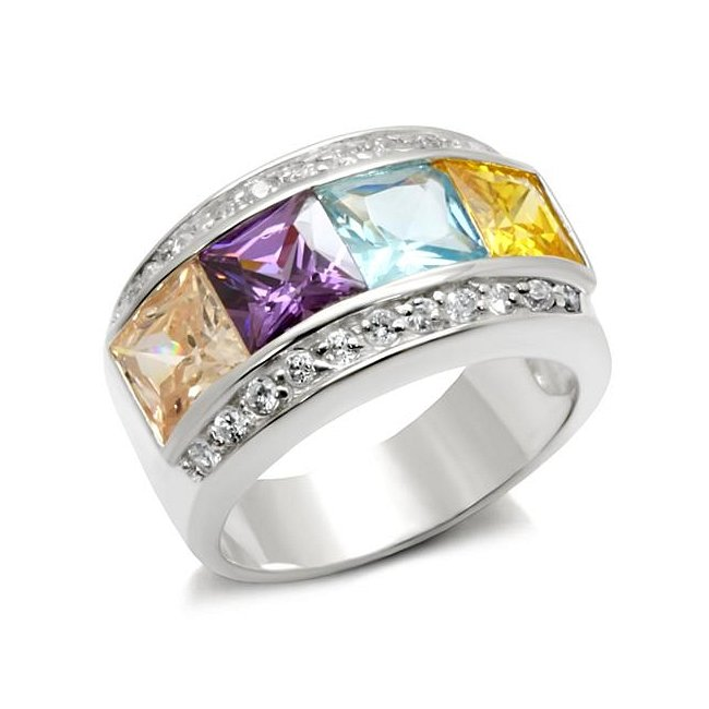 Beautiful Multi Color Cubic Zirconia Band Ring ~ Sterling Silver