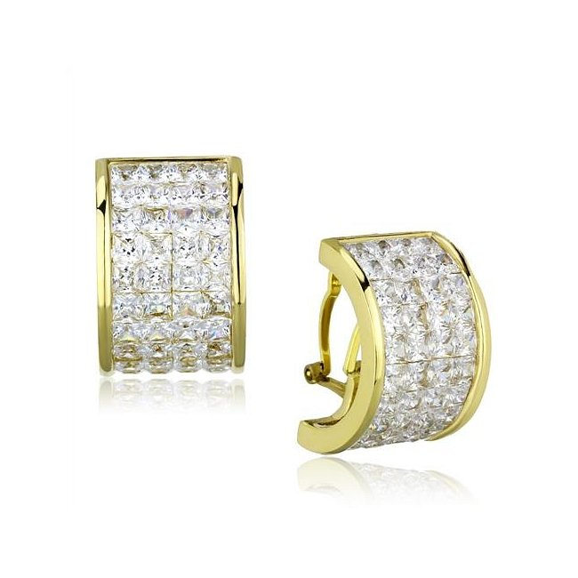Ion Plated Gold Pave Set Cubic Zirconia Earrings ~ Stainless Steel