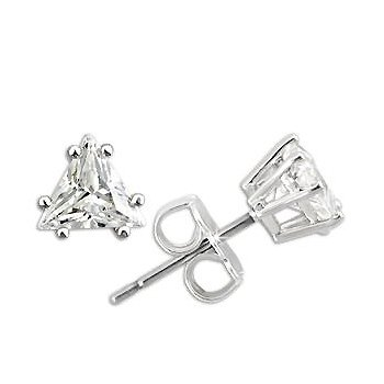 Triangular Shaped Cubic Zirconia Earrings ~ Sterling Silver