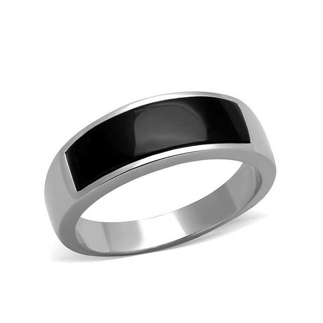 Synthetic Black Onyx Band Ring ~ Stainless Steel