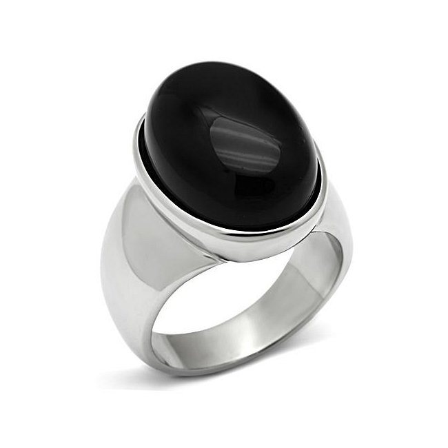 Large Stone Synthetic Black Onyx Ring ~ Stainless Steel