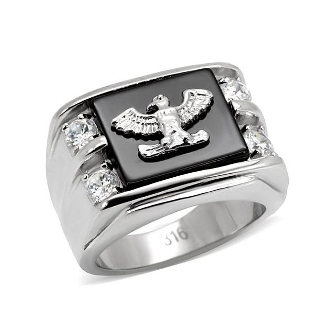 Synthetic Black Onyx  Eagle Ring with Cubic Zirconia ~ Stainless Steel