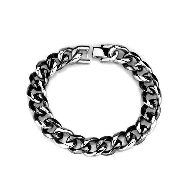 Unisex Black Ceramic Link Bracelet ~ Stainless Steel