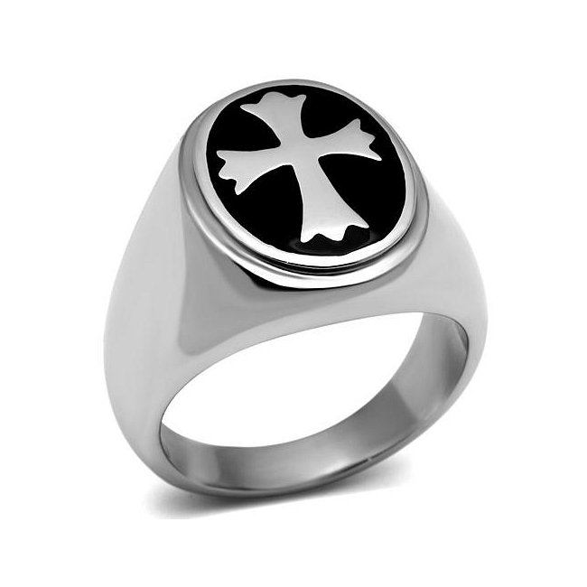 Round Black Epoxy Cross Ring ~ Stainless Steel Silver