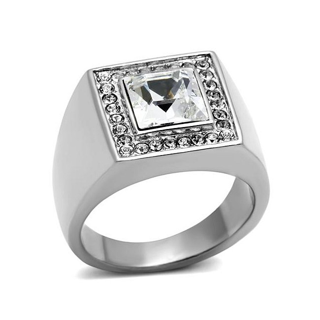 Stunning Double Square Crystal Ring ~ Stainless Steel Silver