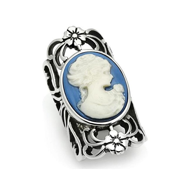 Lovely Ornate Vintage Style Cameo Long Ring ~ Stainless Steel Silver
