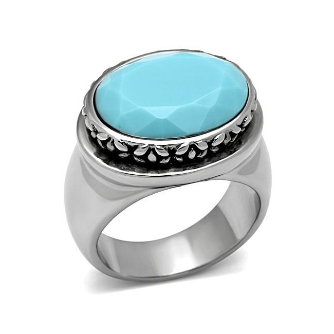 Bold Decorative Electric Blue Oval Ring ~ Stainless Steel Silver