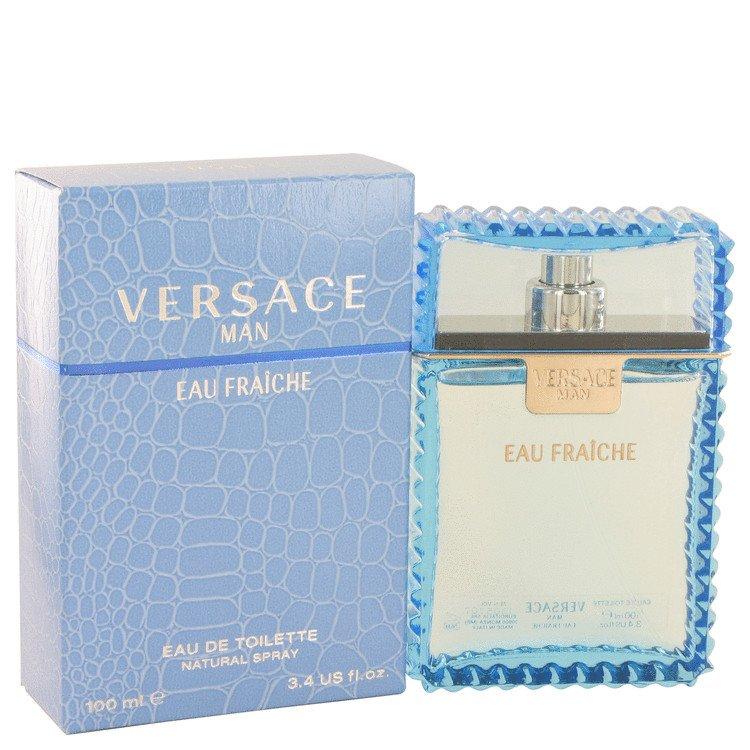 3.4 oz Versace Man Cologne by Versace for Men Eau Fraiche Eau De Toilette Spray (Blue)