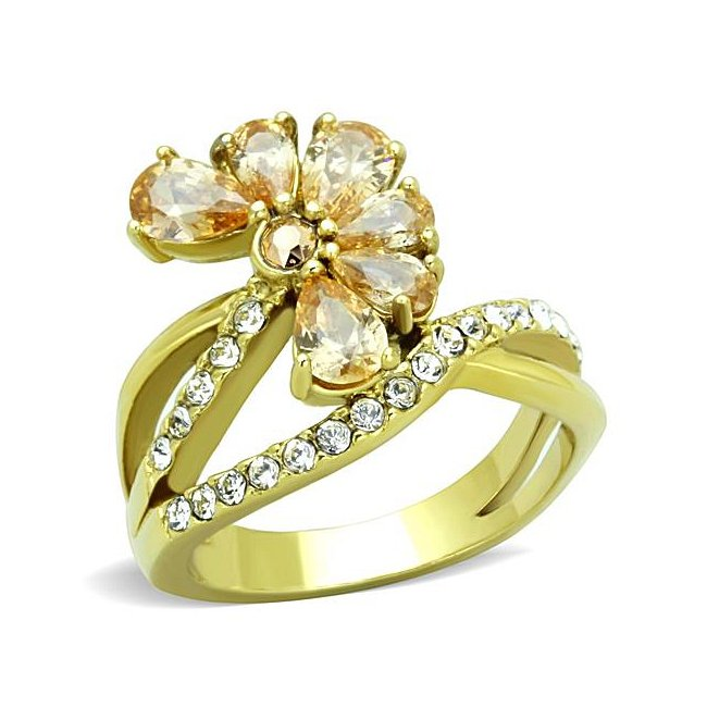 Beautiful Champagne Flower Fashion Ring Ion Gold Plated ~ Stainless Steel