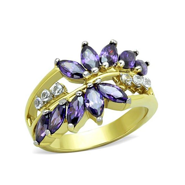 Lovely Two Tone (Gold & Silver) Synthetic Amethyst Ring ~ Stainless Steel