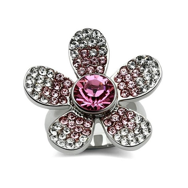 Multi Color Crystal Flower Statement Ring ~ Stainless Steel