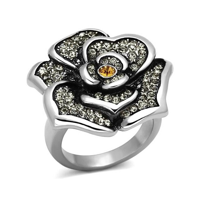 Crystal Topaz Flower Statement Ring ~ Stainless Steel