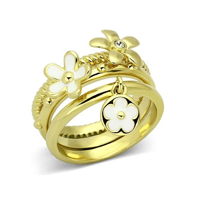 Stackable Flower Fashion Ring Ion Gold Plated ~ Stainless Steel