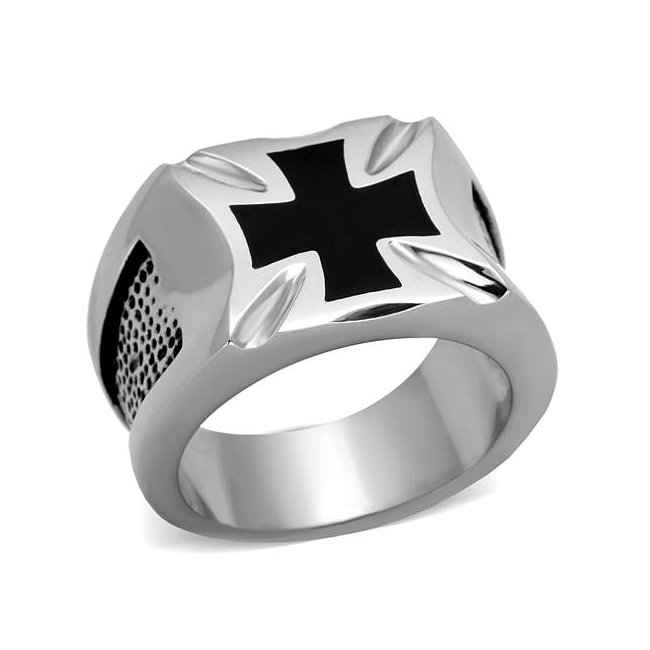Black Epoxy Cross Ring ~ Stainless Steel Silver