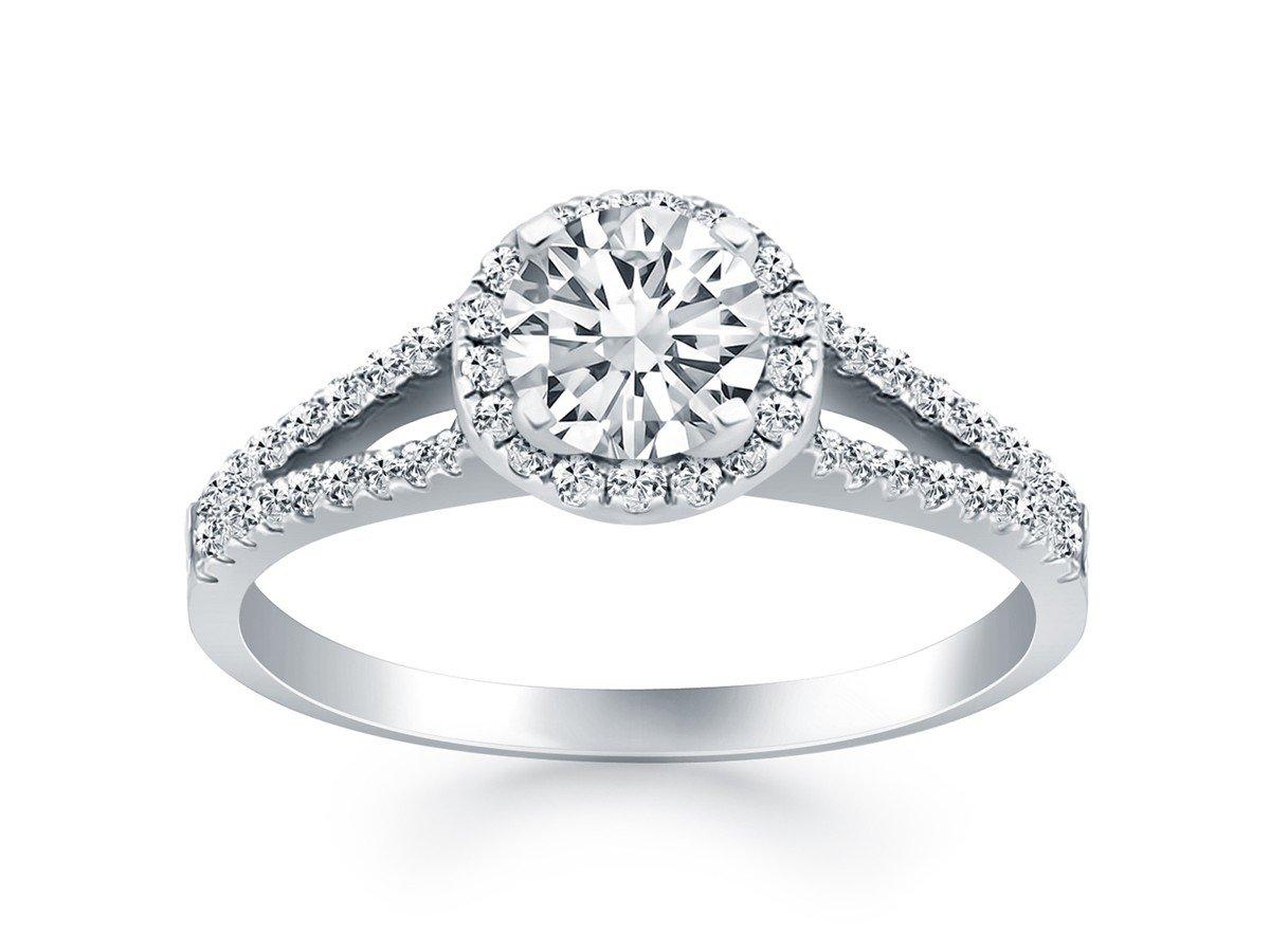 Diamond Halo Split Shank Engagement Ring in 14K White Gold .95 Carat