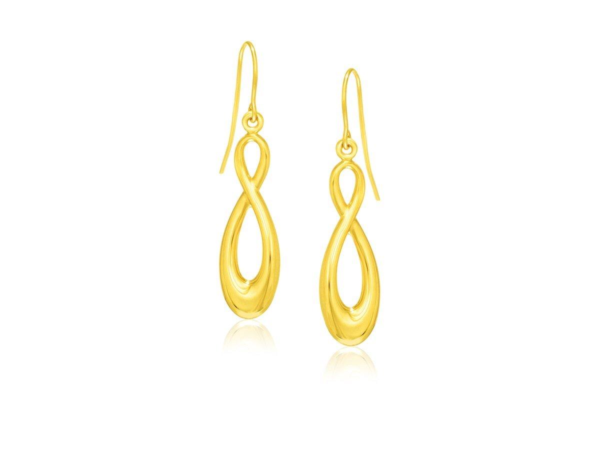 Shiny Infinity Style Dangle Drop Earrings in 14K Yellow Gold