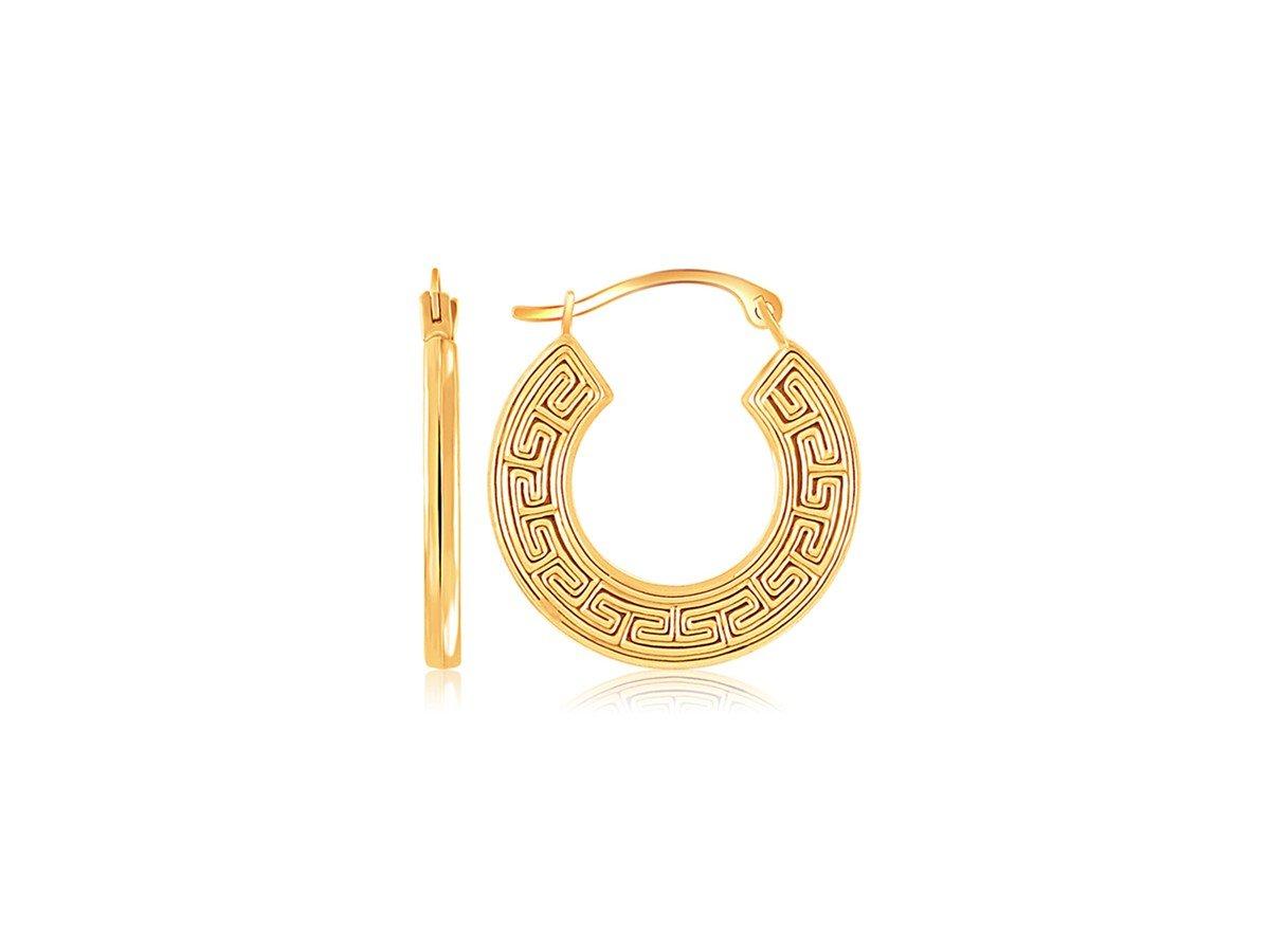 Flat Greek Key Small Hoop Earrings in 14K Yellow Gold