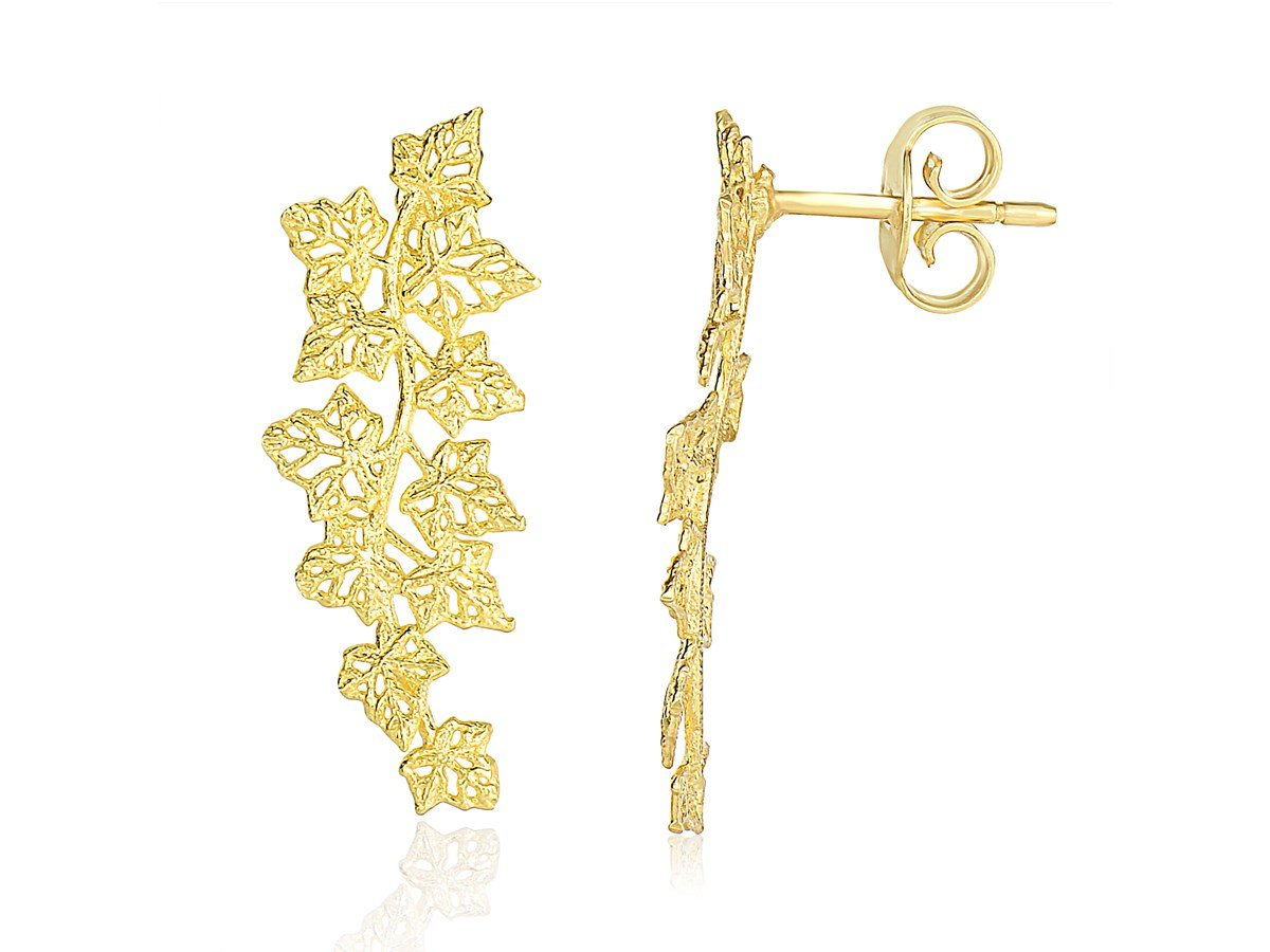 Beautiful Unique Filigree Vine Design Earrings in 14K Yellow Gold